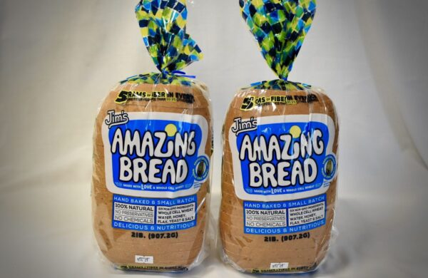 picture of 2 pack of whole cell wheat Jim's amazing bread